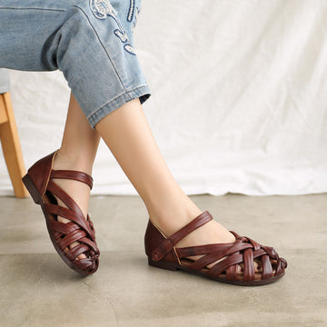 Summer Shallow Mouth Hollow Out Handwoven Leather Sandals