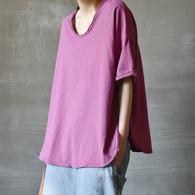 Summer Short Sleeve O-neck Purple Cotton T-shirt