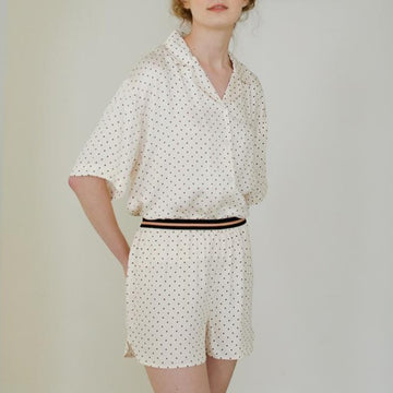 Summer Short Sleeve Polka Dot Viscose Pajamas Suit