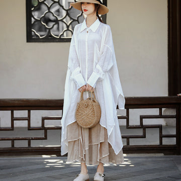 Summer Solid Color Bat Sleeve Irregular Shirt