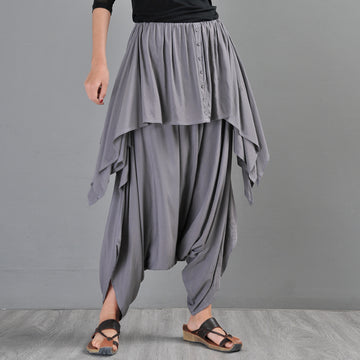 Women Summer Cotton Irregular Harem pants