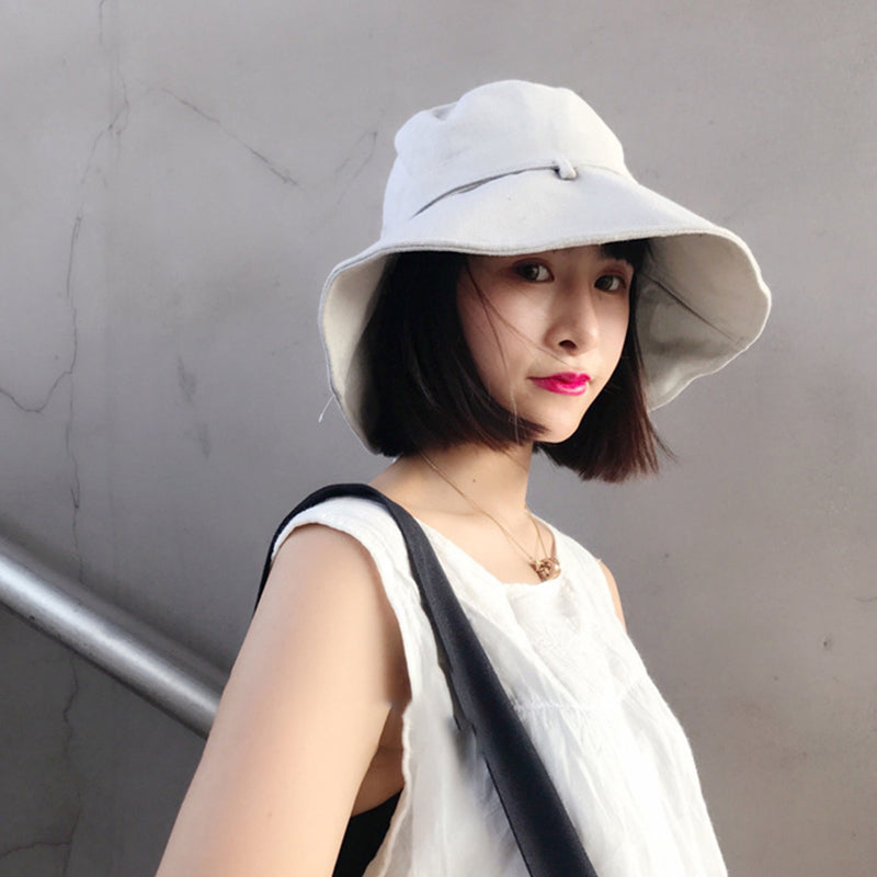 Summer Solid Color Cotton Linen Foldable Sunscreen Hat