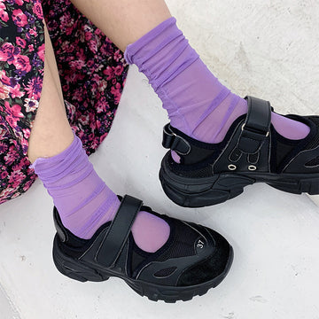 Summer Solid Color Elastic Nylon Socks - 5 pairs