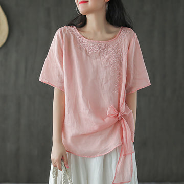 Summer Solid Color Lacing Embroidery Ramie T-shirt