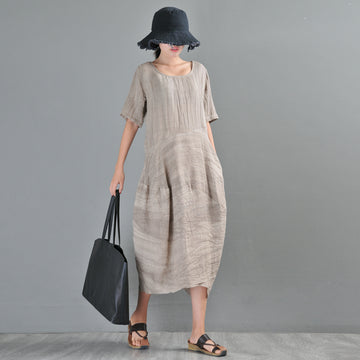 Summer Solid Color Linen O-neck Midi Dress