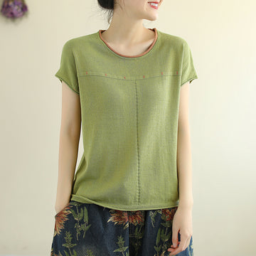 Summer Solid Color Short Sleeve Knitted Cotton T-shirt