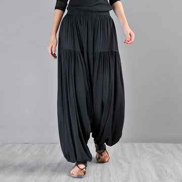Summer Solid Color Splicing Pleated Drop Crotch Pants