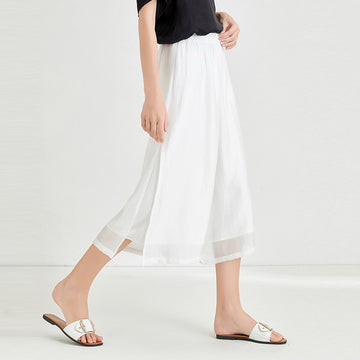 Plus Size Summer Solid Color Two Layer Straight Pants