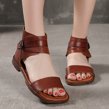 Summer Solid Color Wrapped Strap Leather Sandals
