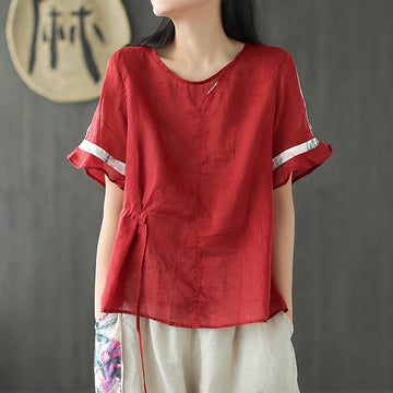 Summer Stitching Lacing Flare Sleeves Ramie T-shirt