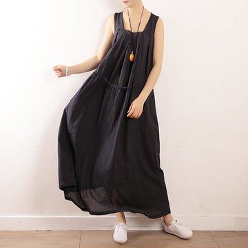 Summer Stripe Drawstring Pleated Cotton Linen Sundress