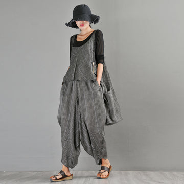 Summer Stripe Irregular Vest And Ankle-length Pants