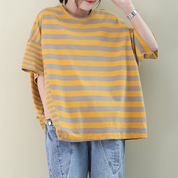 Summer Stripe Literary Casual Cotton T-shirt