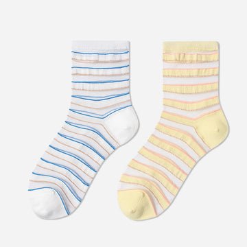 Summer Stripe Semi-sheer Socks For Women (3 Pairs)
