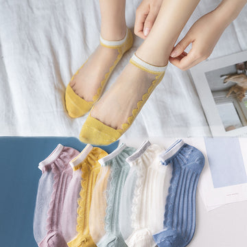 Summer Stripe Transparent Cotton Boat Socks (5 Pairs)
