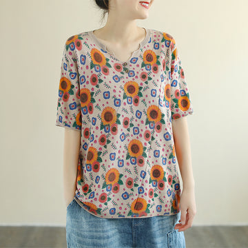 Summer Sunflower Cotton V-neck Knitted Shirt