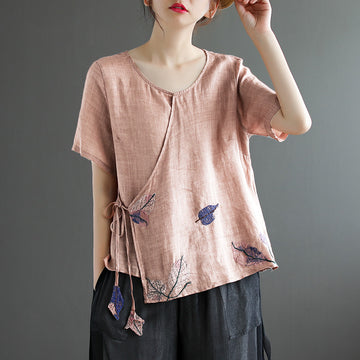 Summer Thin Drawstring Embroidery Leaves Print T-shirt