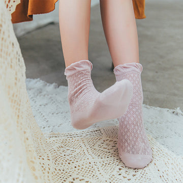 Summer Thin Solid Color Women Cotton Socks (5 Pairs)
