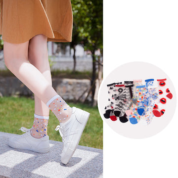 Summer Transparent Jacquard Crew Socks For Women (5 pairs)