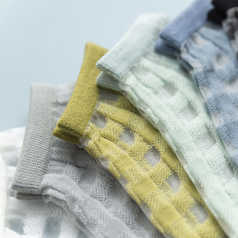 Summer Ultra-thin Plaid Tulle Socks- 3 Pairs