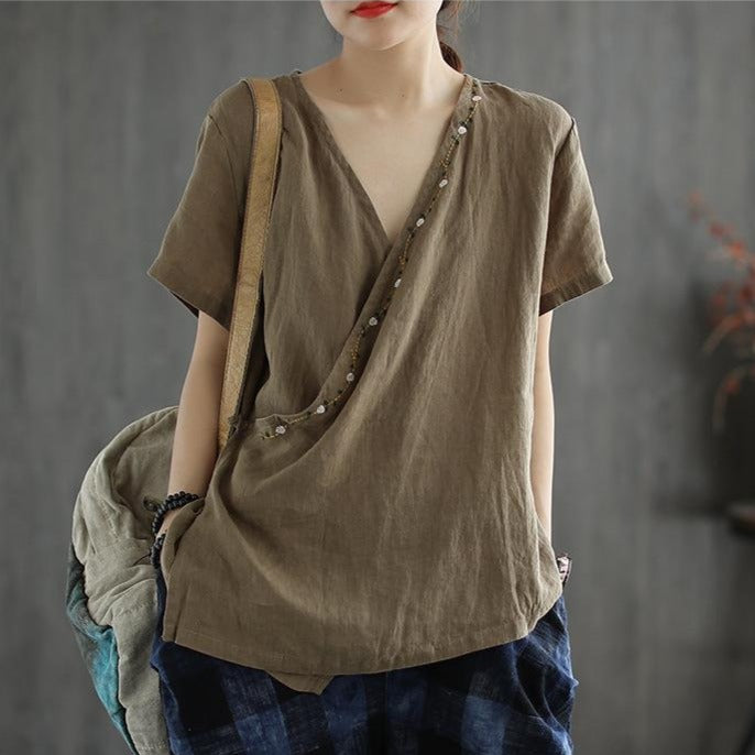 Summer V-neck Embroidery Lace-up Linen T-shirt