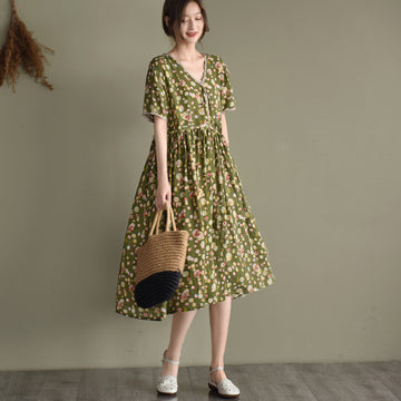 Summer V-neck Floral Drawstring Linen Dress