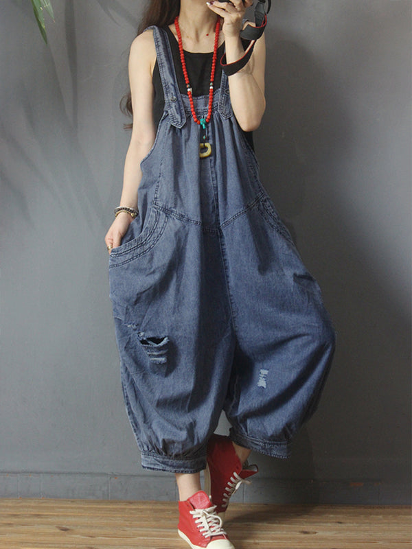 Summer Women Denim Loose Overalls