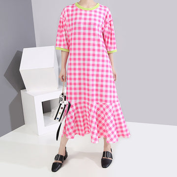 Summer Women Lotus Leaf Hem Plaid Dress