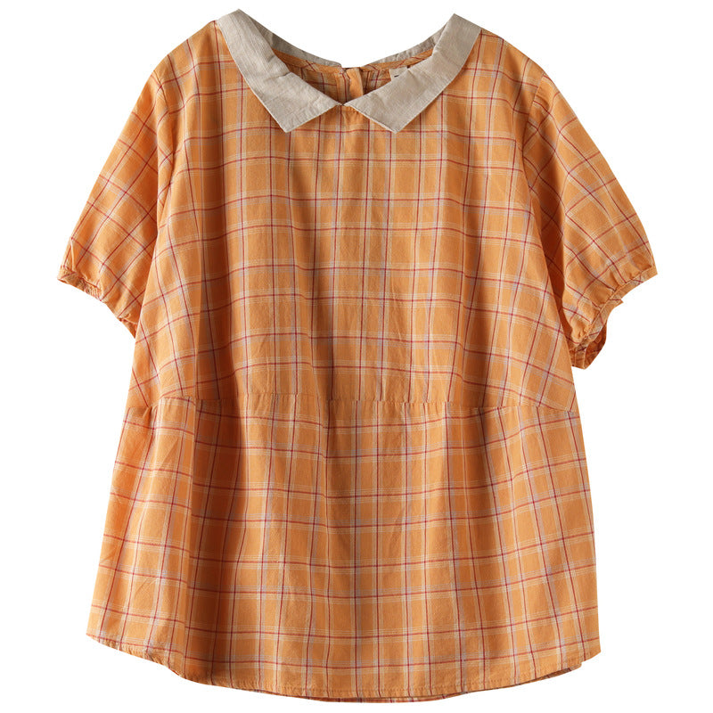 Plus Size - Summer Women Plaid Print Cotton Linen T-shirt