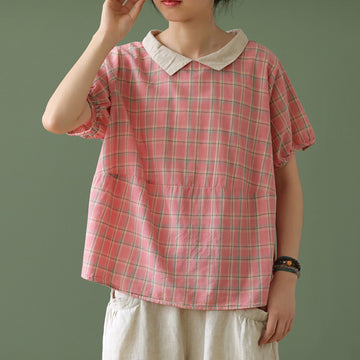 Summer Women Plaid Print Cotton T-shirt