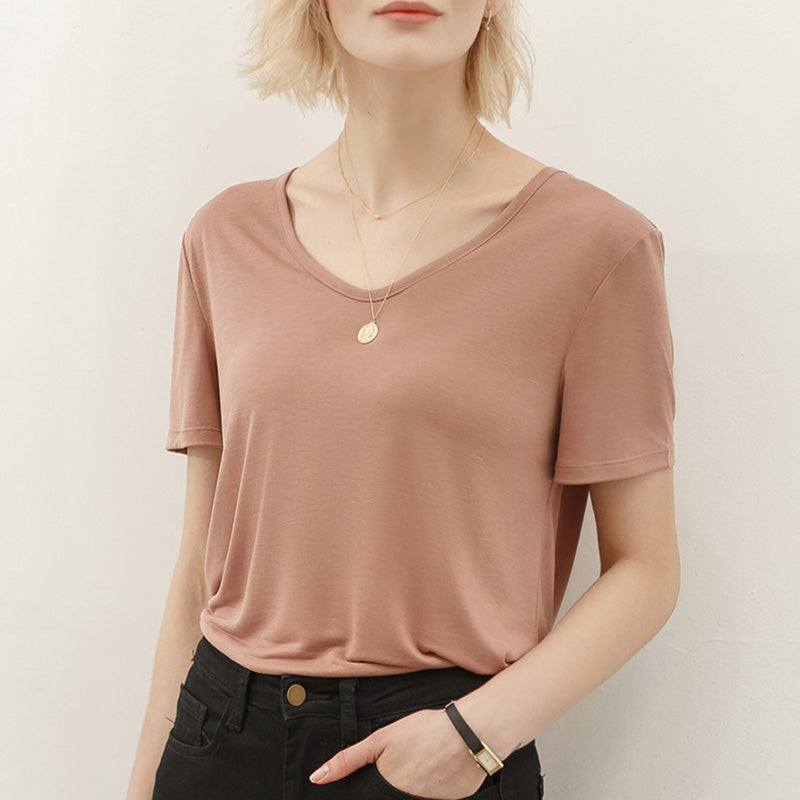 Summer Women Pure Color V-neck T-shirt