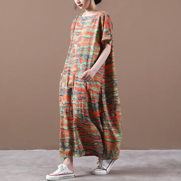 Summer Women Retro Pocket Cotton Dress