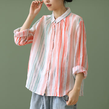 Summer Women Striped Cotton Shirt
