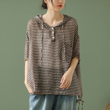 Summer Women Thin Striped Pocket T-shirt