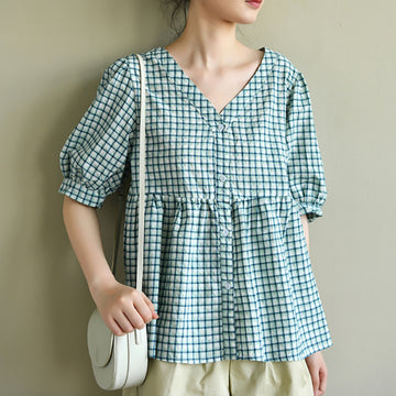 Summer Women V-neck Plaid Cotton T-shirt