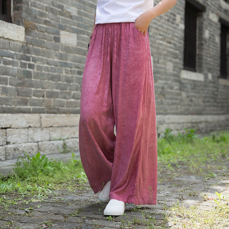 Summer Yoga Solid Color Tencel Wide Leg Pants