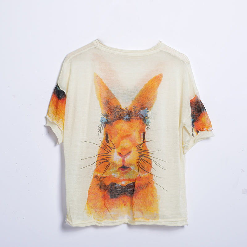 Summer Casual Animal Pullover Regular Short Sleeve Sweater Buykud