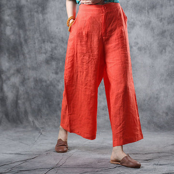 Summer Casual Orangered Thin Wide Leg Pants