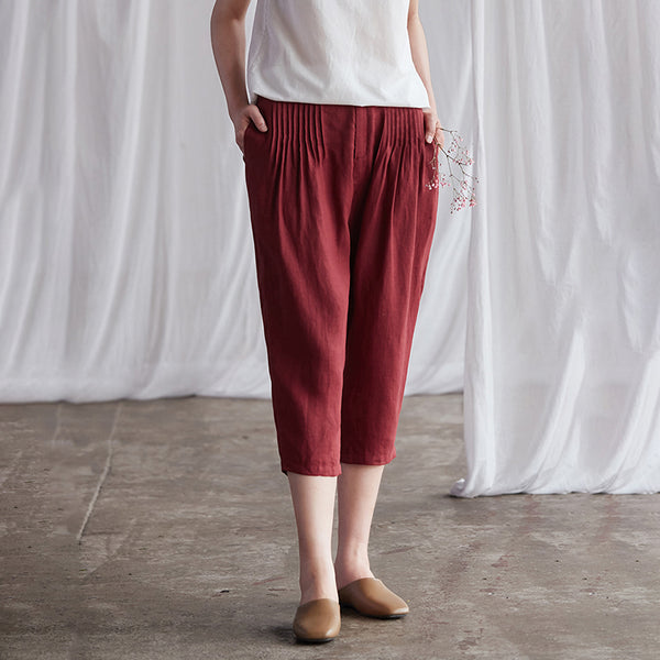Summer Casual Pleated Solid Color Harem Pants