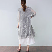 Summer Casual Plus Size Feather-Print Elegant Women's Dress