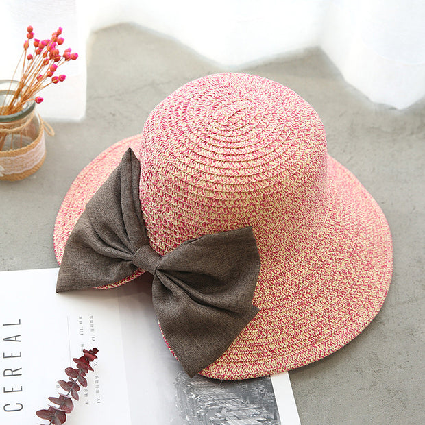 Summer Casual Solid Straw Bow Hat