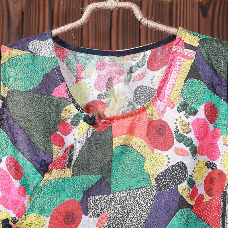 Summer Colored Printed Loose Sleeveless T-Shirt