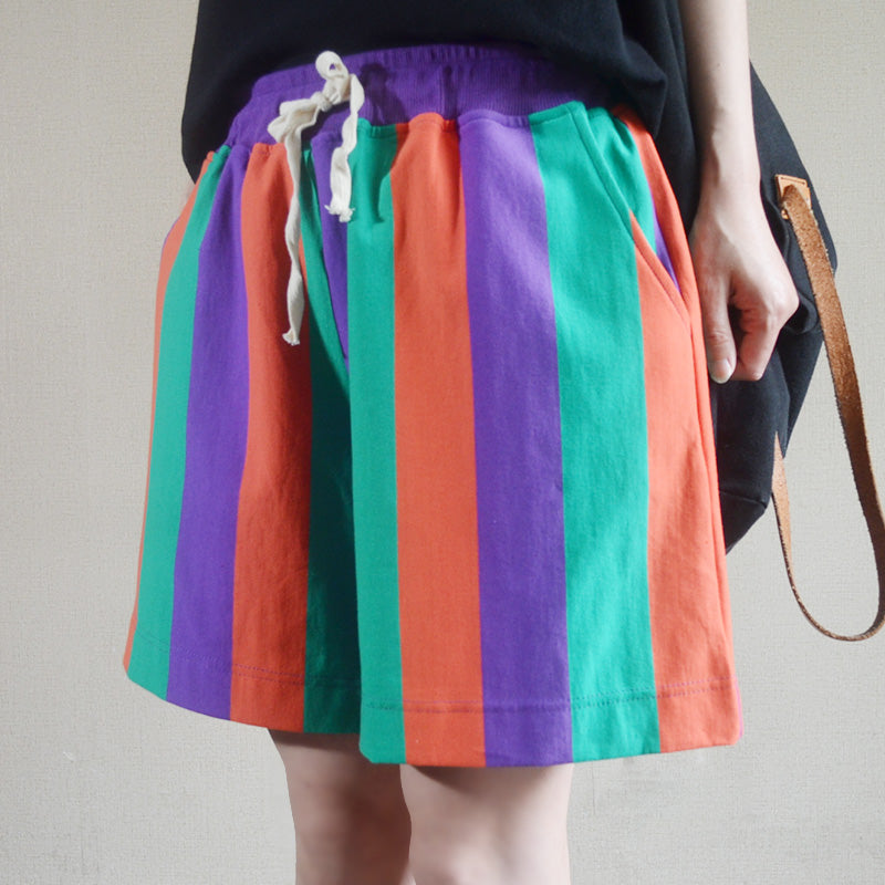 Summer Colored Stripes Casual Loose Shorts