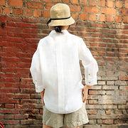 Summer Cool Casual Loose Linen White Shirt
