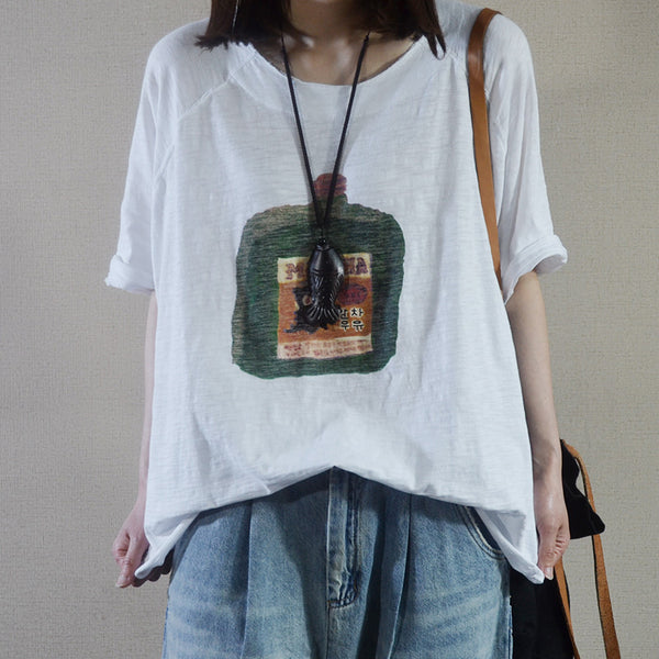 Summer Cotton Carton Print Half Sleeve T-shirt
