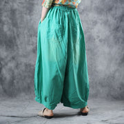 Summer Cotton Elastic Waist Ankle-Length Wide Leg Pants