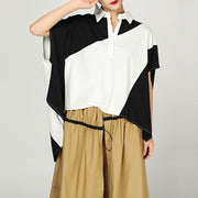 Summer Cotton Geometric Short Sleeve  Blouse