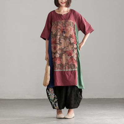 Retro Ethnic Printed Splicing Short Sleeve Dress