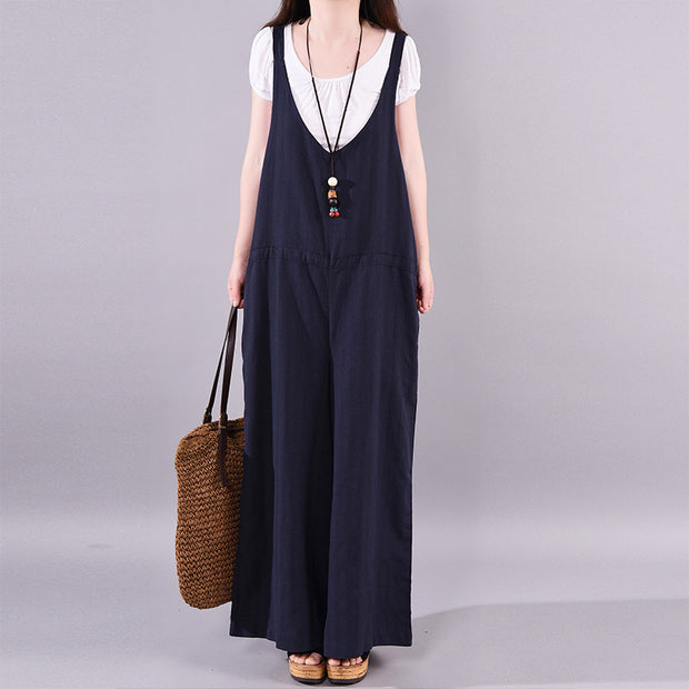 Summer Cotton Solid Full Length Loose Jumpsuit