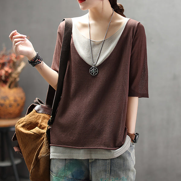 Summer Double Layer Casual Loose Knit T-Shirt